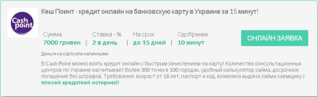 Взяти кредит на карту срочно в борг онлайн в Україні